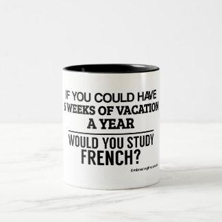 will you study french? Two-Tone coffee mug