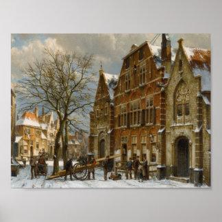 Willem Koekkoek 1839 - 1895 DUTCH WINTER STREET SC Poster