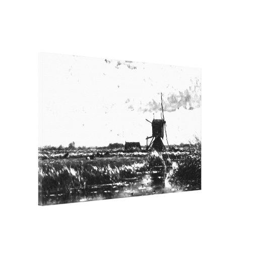 Willem Roelofs - paysage avec le moulin à vent (mo Impression Sur Toile