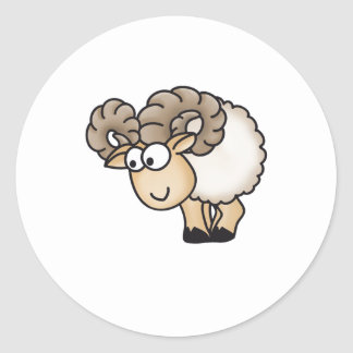 Willi the Ram - Aries - Male Sheep - Mouflon Classic Round Sticker