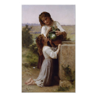 William-Adolphe Bouguereau-At The Fountain Poster