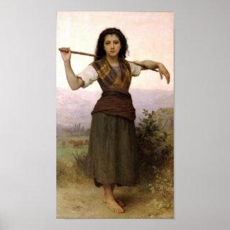 William-Adolphe Bouguereau-The Shepherdess Poster