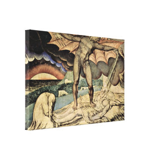 William Blake - Satan pours on plagues of Hiob Stretched Canvas Print