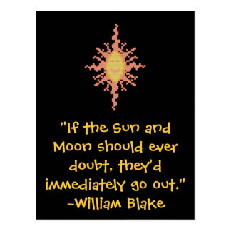 William Blake Sun and Moon Quote Postcard