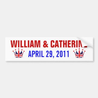 William Catherine Royal Wedding Bumper Stickers