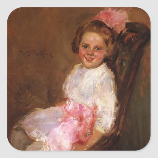 William Chase-Portrait of Helen,Daughter of Artist Square Sticker