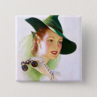 William Fulton Soare: Woman with Binocular 2 Inch Square Button