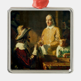 William Harvey  demonstrating to Charles I Silver-Colored Square Ornament