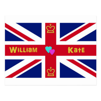 William & Kate British Flag Postcard