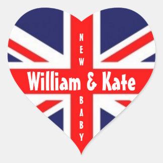 William & Kate/New Baby-Union Jack Heart Heart Sticker