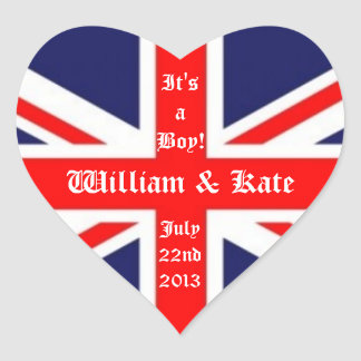 William & Kate/Royal Baby Boy-Union Jack Heart Sticker