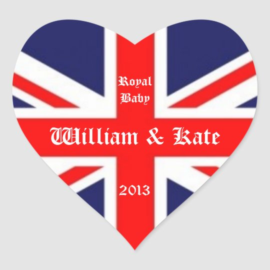 William & Kate/Royal Baby-Union Jack Heart Sticker