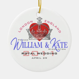 William & Kate Royal Wedding Round Ceramic Ornament