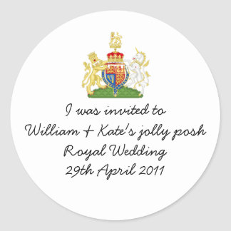 William & Kate's jolly posh Royal wedding badge Round Sticker
