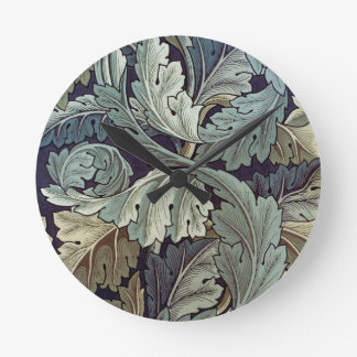 William Morris Acanthus Floral Wallpaper Design Round Clock
