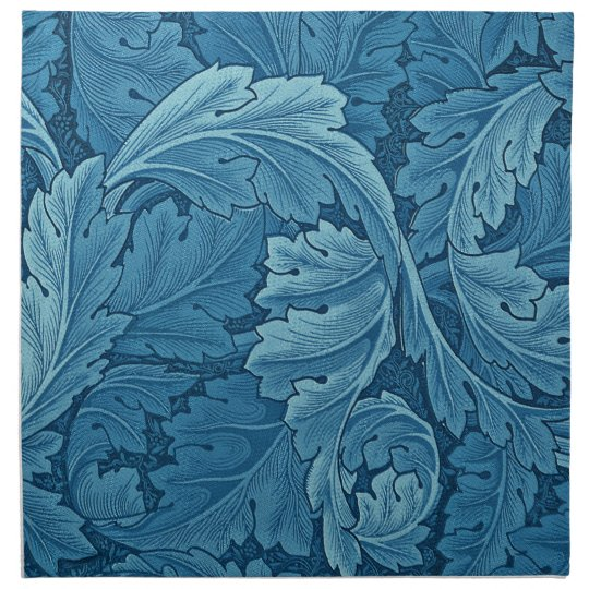 William Morris Acanthus in Blue Napkin