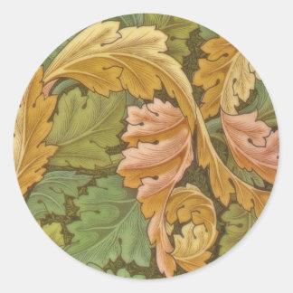William Morris Acanthus Vintage Floral Round Sticker