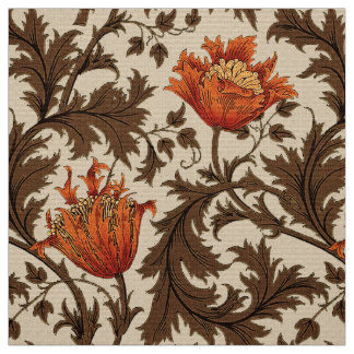 William Morris Anemone, Beige, Brown and Rust Fabric
