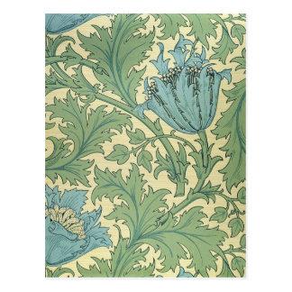 William Morris Anemone Design Floral Vintage Art Postcard