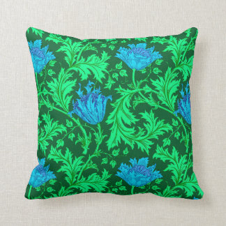 William Morris Anemone, Emerald Green and Blue Throw Pillow