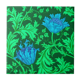 William Morris Anemone, Emerald Green and Blue Tile