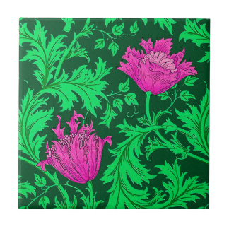 William Morris Anemone, Emerald Green and Fuchsia Tile