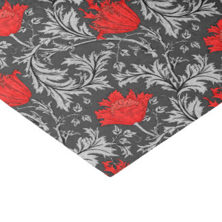 William Morris Anemone, Gray / Grey and Red Tissue Paper