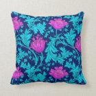 William Morris Anemone, Navy, Turquoise & Magenta Throw Pillow