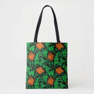 William Morris Anemone, Orange, Green and Black Tote Bag