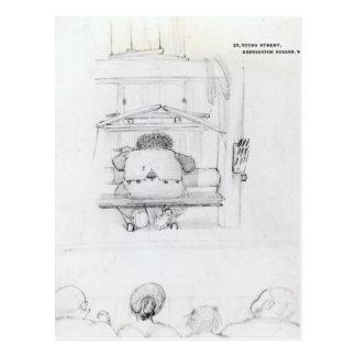 William Morris at his loom, caricature Postcard