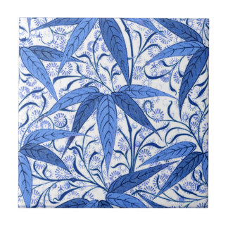 William Morris Bamboo Print, Cobalt Blue & White Tile