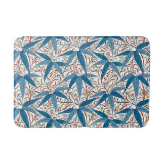 William Morris Bamboo Print, Denim Blue & White Bath Mat