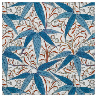 William Morris Bamboo Print, Denim Blue & White Fabric