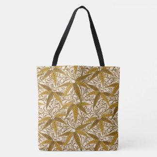 William Morris Bamboo Print, Gold and Cream Tote Bag