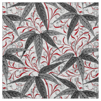 William Morris Bamboo Print, Gray and White Fabric