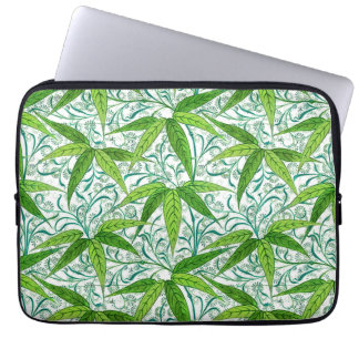 William Morris Bamboo Print, Green and White Laptop Sleeve