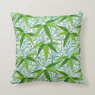 William Morris Bamboo Print, Green and White Throw Pillow