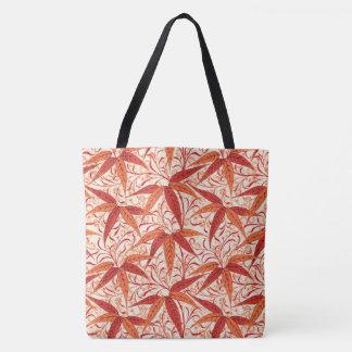 William Morris Bamboo Print, Mandarin Orange Tote Bag