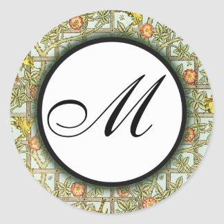 William Morris Birds & Flowers Monogrammed Sticker