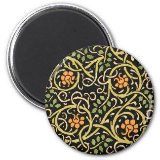 William Morris Black Floral Art Print Design 2 Inch Round Magnet