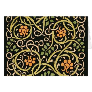 William Morris Black Floral Art Print Design Card