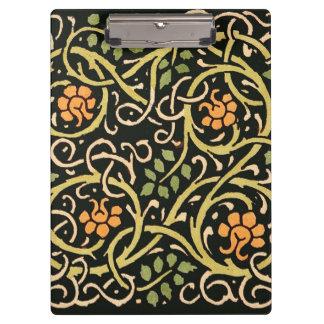 William Morris Black Floral Art Print Design Clipboard