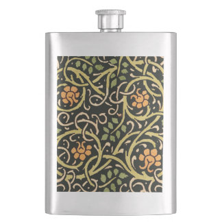 William Morris Black Floral Art Print Design Hip Flask