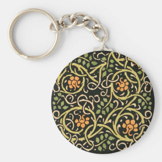 William Morris Black Floral Art Print Design Keychain