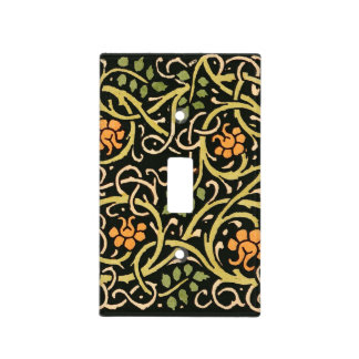 William Morris Black Floral Art Print Design Light Switch Cover