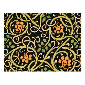 William Morris Black Floral Art Print Design Postcard