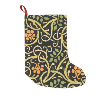 William Morris Black Floral Art Print Design Small Christmas Stocking