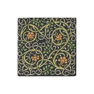 William Morris Black Floral Art Print Design Stone Magnets