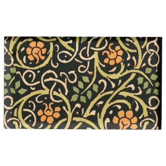 William Morris Black Floral Art Print Design Table Number Holder