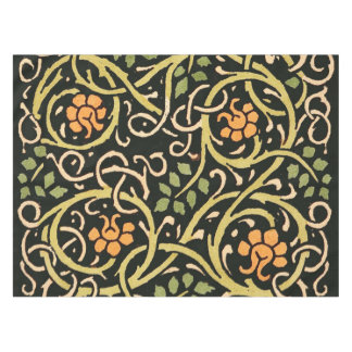 William Morris Black Floral Art Print Design Tablecloth